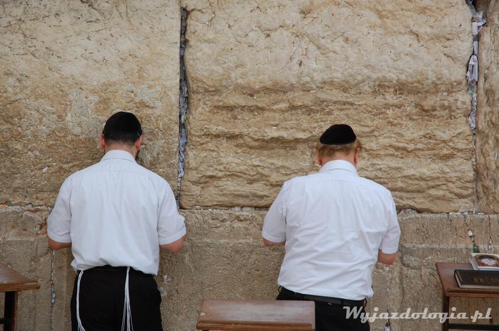 ortodoksyjni żydzi modlą się pod ścianą płaczu w izraelu