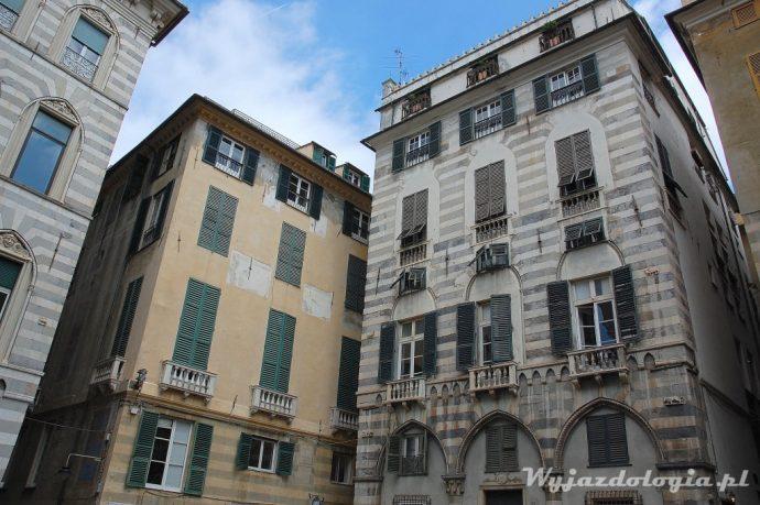 fasady budynków w genui