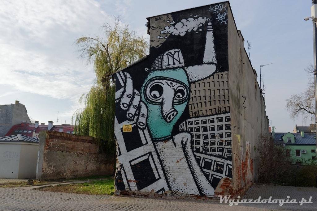 mural na podwórku w Płocku