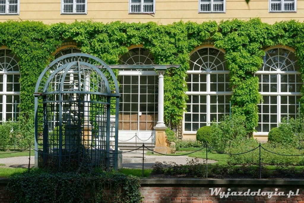 Łańcut pokryta zielenią fasada zamku